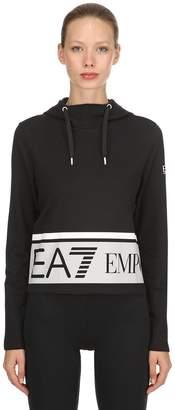 Emporio Armani (エンポリオ アルマーニ) - EA7 EMPORIO ARMANI TRAIN MASTER コットン クロップドスウェットシャツ