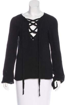 L'Agence Long Sleeve Lace-Up Top