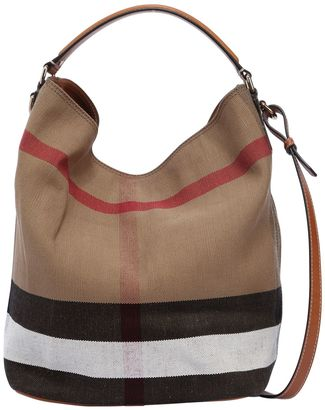 Burberry Medium Ashby Check Canvas Hobo Bag