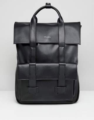 Asos DESIGN backpack in black faux leather and front pocket with double straps