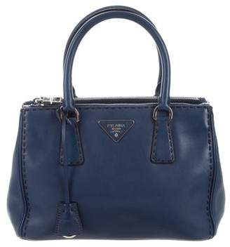 Prada City Calf Topstitched Small Double Zip Tote