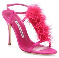 Manolo Blahnik Eila Feather-Trimmed Satin T-Strap Sandals $895 thestylecure.com