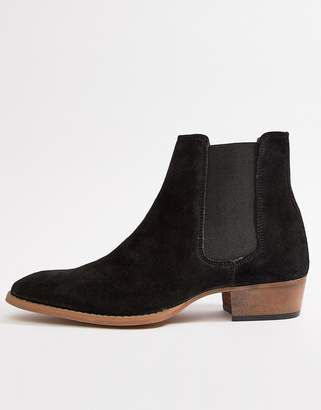 6f9e7bccc496 Asos Design DESIGN cuban heel western chelsea boots in black suede