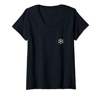 Womens Snowflake Snow Winter Badge Patch Line Art Icon Outline Gift V-Neck T-Shirt