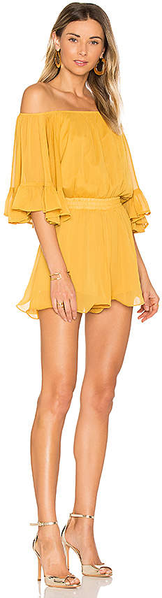 Endless Rose Ruffled Sleeve Romper in Yellow 5