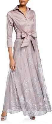 LM Collection Taffeta Glitter 3\/4 Sleeve Shirtdress