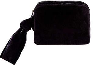 The Row Zip-Top Velvet Wristlet Clutch Bag