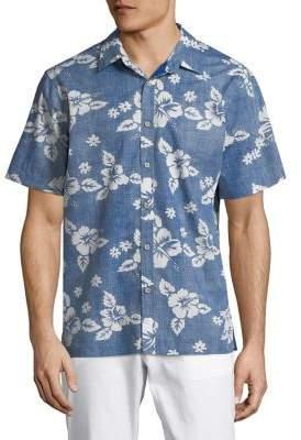 Black & Brown Black Brown Hawaiian Print Button-Down Shirt