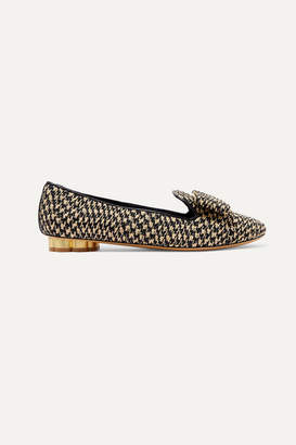 Salvatore Ferragamo Sarno Bow-embellished Woven Straw Loafers - Black