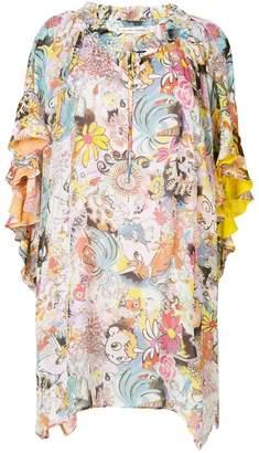 Tsumori Chisato contrast print asymmetric dress