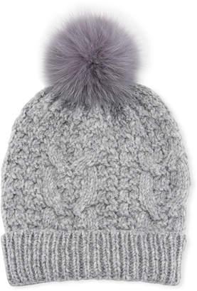 8ae8721233f69 Il Borgo Cable Knit Beanie Hat w  Fur Pompom