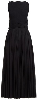 Alexander McQueen Ribbed Bodice Pleated Skirt Gown - Womens - Black