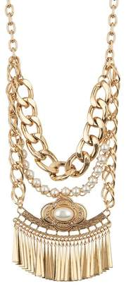 Free Press Faux Pearl & Fringe Chain Statement Necklace