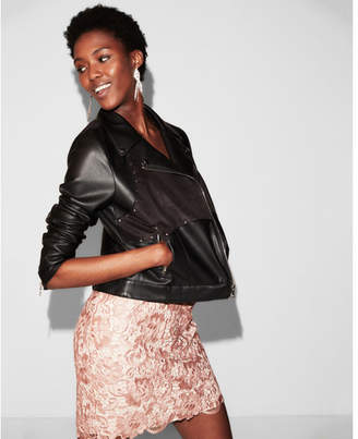 Express faux suede front Faux leather jacket