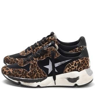 Golden Goose Running Sneakers in Leopard Pony Hair/White