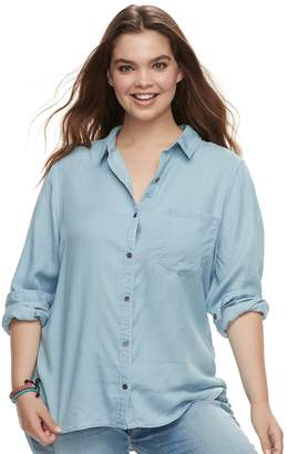 So Juniors' Plus Size SO Chambray Button Down Shirt