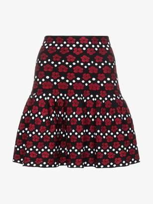 Alaia Floral And Dot Print Mini Skirt
