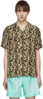 851a92d8 Wacko Maria Beige and Black Leopard Hawaiian Shirt