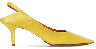 Vetements Naked Satin Slingback Pumps - Yellow