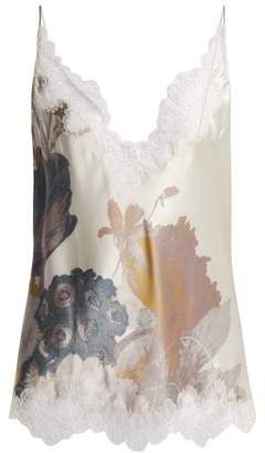 Carine Gilson Lace Trimmed Silk Satin Camisole - Womens - Pink Print