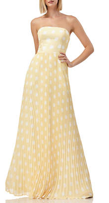 Polka-Dot Strapless Pleated Skirt Gown