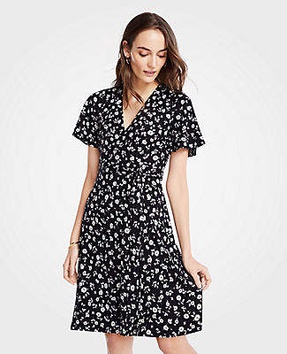 7a96186aed Ann Taylor Floral Flutter Sleeve Wrap Dress