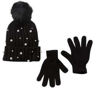 CURLS & PEARLS Faux Fur Pompom Hat Beanie & Glove Set
