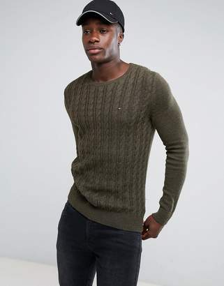 Tommy Jeans Tommy Hilfiger Denim Cable Sweater in Green