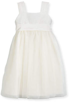 Isabel Garreton Venice Pleated Straps V-Back Dress, Ivory, Size 7-10