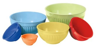 Oggi Corporation 5284 Ribbed Melamine Mixing Bowls 6 Piece Set Assorted Colors
