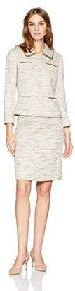 Tahari by Arthur S. Levine Women's Boucle Skirt Suit with Hardware Detail