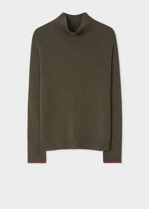 Paul Smith Men's Khaki Cashmere Funnel Neck Sweater