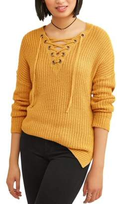 No Comment Juniors' Marled Knit Lace-Up V-Neck Pullover Sweater