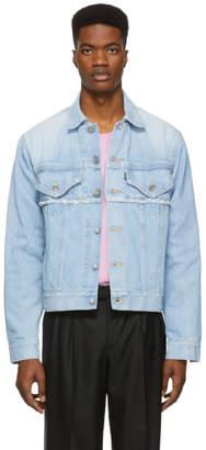 Christian Dada Blue Denim Akarai Print Jacket