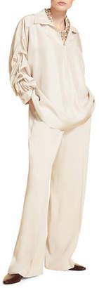 Marina Rinaldi Plus Size Silk Poplin Poet-Sleeve Shirt