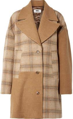 MM6 MAISON MARGIELA Oversized Patchwork Checked Wool Coat - Camel