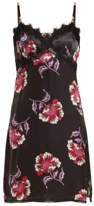 Morgan Lane - Twila Floral Print Short Silk Slip - Womens - Black Print