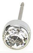 Blomdahl Silver Titanium Earrings bezel crystal
