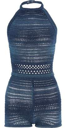 Balmain Metallic Crocheted Cotton-Blend Halterneck Playsuit