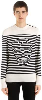 Alexander McQueen Striped Skull Wool Knit Sweater