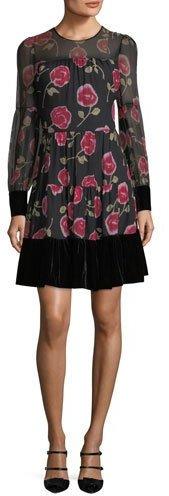 Kate Spade New York Rose-Print Long-Sleeve Chiffon Mini Dress