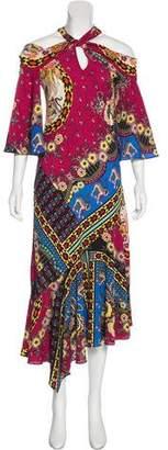Etro Cold-Shoulder Printed Dress