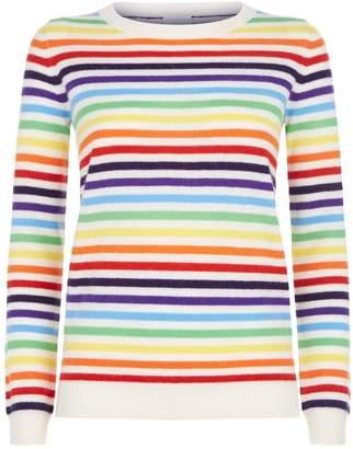 Madeleine Thompson Mars Rainbow Striped Cashmere Sweater