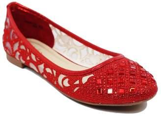 Bella Marie Women Casual Rhinestone Glitter Mesh Slip on Ballet Flat Lightweigh Dana14 (8, )