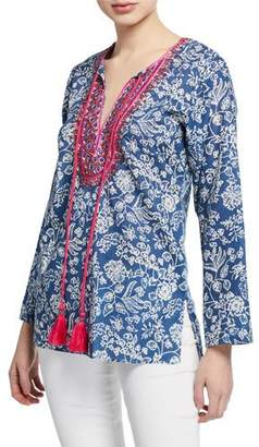 Bella Tu Brooke Floral-Print Split-Neck Long-Sleeve Tunic