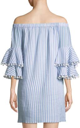 Neiman Marcus Off-The-Shoulder Pompom-Trim Striped Dress