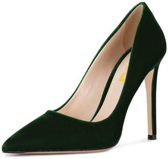 d45e10fc6ff0 FSJ Women Formal Stiletto High Heels Pumps Pointed Toe Velvet Slide Office  Lady Shoes Size 7