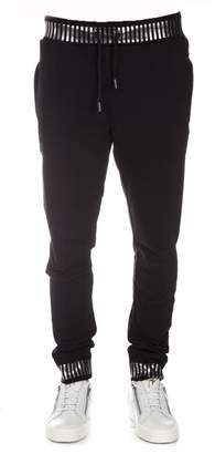 Frankie Morello Black Cotton Pants With Metal Details