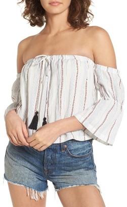 Women's Lush Tassel Trim Off The Shoulder Top $39 thestylecure.com