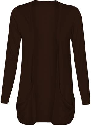 Fashion Wardrobe Womens Long Sleeves Drop Pocket Boyfriend Cardigan Ladies Open Casual Tops 8-14 (USA 10-12/UK 12-14 (M/L), )